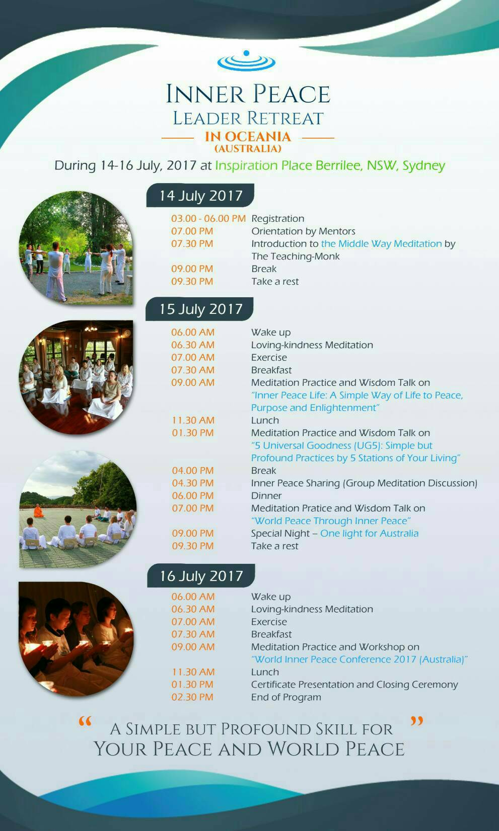 Inner Peace Leader Retreat in Brazil - schedule